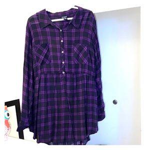 Purple/black babydoll tunic blouse from torrid 3